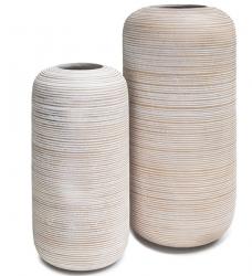 Bodenvase Holz weiß WOODY HORIZON 50cm hoch x 25cm Ø