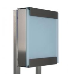 Design Briefkasten Edelstahl Milchglas