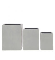 Blumenkübel quadratisch-hoch grau