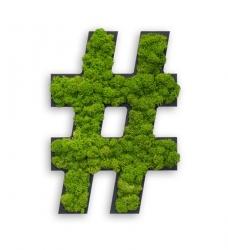 Hashtag aus Moos Abstandshalter m. Schablone
