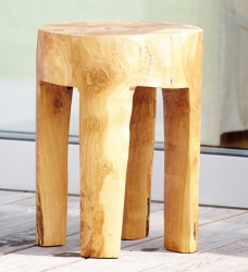Teak Hocker JAVA rund
