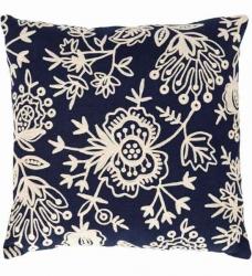 Dash & Albert Kissen FLORA dunkelblau 56x56 cm