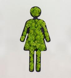 WC Schild Frauen aus Moos