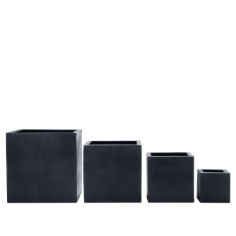 Blumenkübel schwarz kubisch 42 x 42 x 42cm (L/B/H)