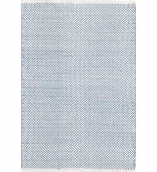 Dash & Albert Baumwollteppich Herringbone hellblau