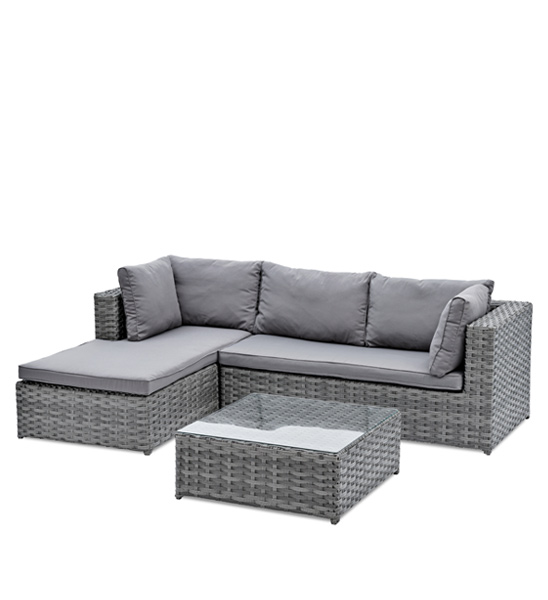 gartensofa polyrattan grau mit tisch greenbop online shop. Black Bedroom Furniture Sets. Home Design Ideas