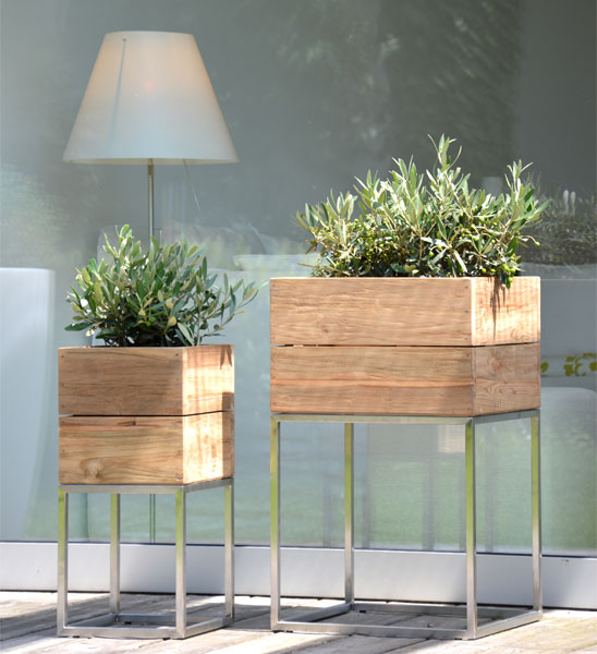 pflanzk bel teak minigarden container im greenbop online. Black Bedroom Furniture Sets. Home Design Ideas