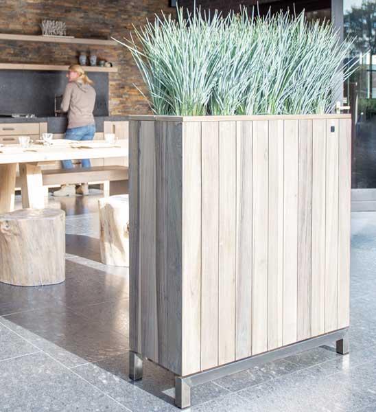 Pflanzkübel Raumteiler Holz grau | im Greenbop Online Shop kaufen