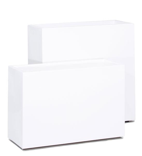 Pflanzkübel Fiberglas BLOCK weiß 90 cm | im Greenbop Online Shop kaufen