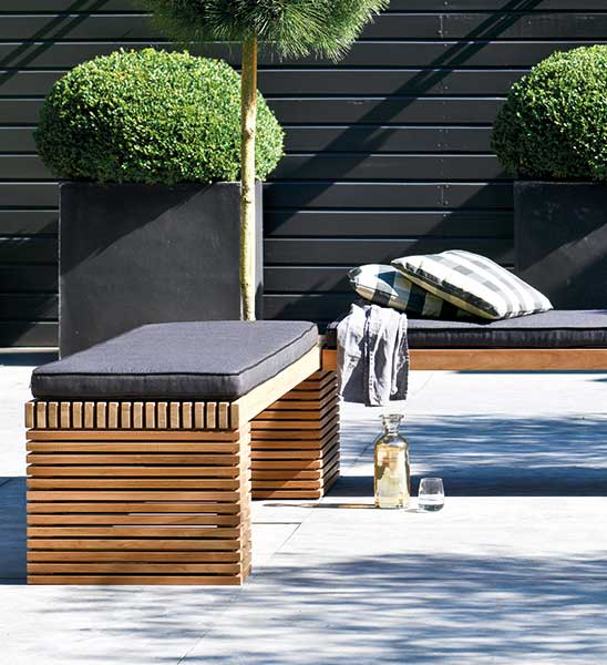 design gartenbank teak modulo 160 200 cm im greenbop. Black Bedroom Furniture Sets. Home Design Ideas