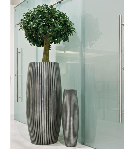 Pflanzkübel LINES silber fleur-ami   im Greenbop Online Shop kaufen