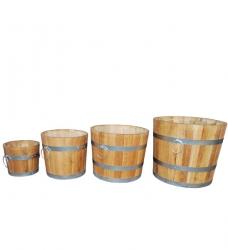 Blumenkübel Holz Eiche 4-er Set Premium