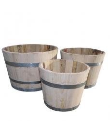 Blumenkübel Holz Kastanie 3-er Set