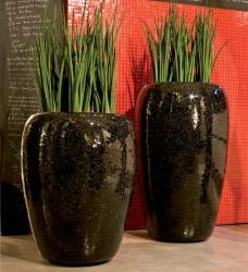 Design Pflanzgefäß Spiegelmosaik ONE schwarz