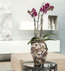 Orchideen Übertopf Perlmutt Muscheln braun