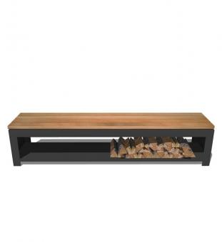 Gartenbank Stahl schwarz mit Holzlager