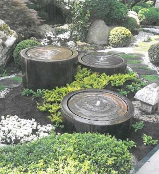 Moderne Gartenbrunnen rund